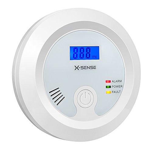 X-Sense CO03B Kohlenmonoxidmelder CO Melder Warnmelder CO-Detektor Batteriebetrieben, Sensor und Alarm mit Digitalanzeige und Höchstwertspeicherung, Weiß