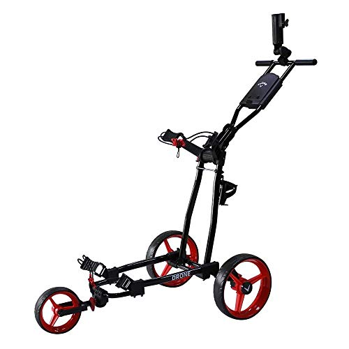 Callaway Drone Push Cart Drone 3-Wheel Push Cart, Black/Red