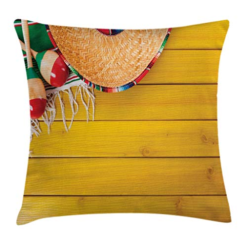 """Ambesonne Mexican Throw Pillow Cushion Cover, Ceremonial Folk Objects on Timber Surface Native Mayan Image Illustration, Decorative Square Accent Pillow Case, 24"""" X 24"""", Yellow Green"""