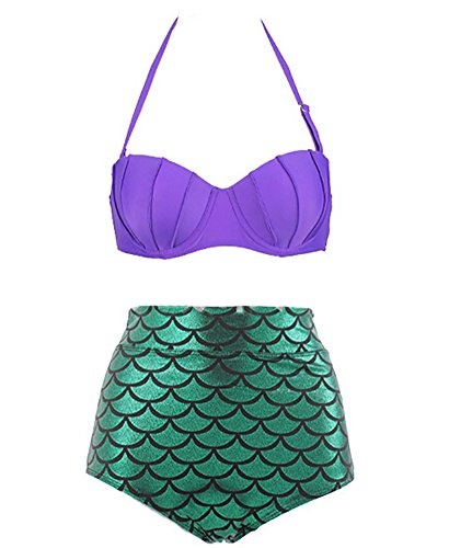Ibeauti Women's 2 Piece Bikini Set, Retro High Waisted Mermaid Swimwear (XL, Purple+Green2)