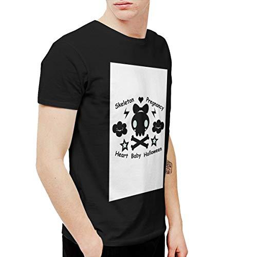 T-shirt Skeleton Pregnancy Heart Baby Halloween Men's Round Neck Short Sleeve Tees Tops Black 4XL]()