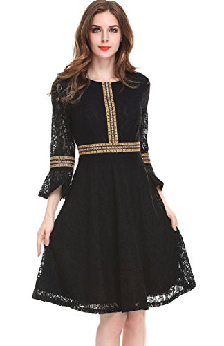 lace a line dress with sleeves - 2