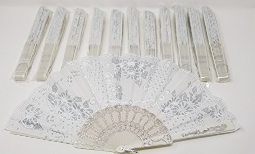 MSS White Silver Beautiful Fans (Set of 12 pcs) Wedding Fan (Set of 12 pcs) Hand Fan Folding Fan Wedding Favor Bridal Baby Shower