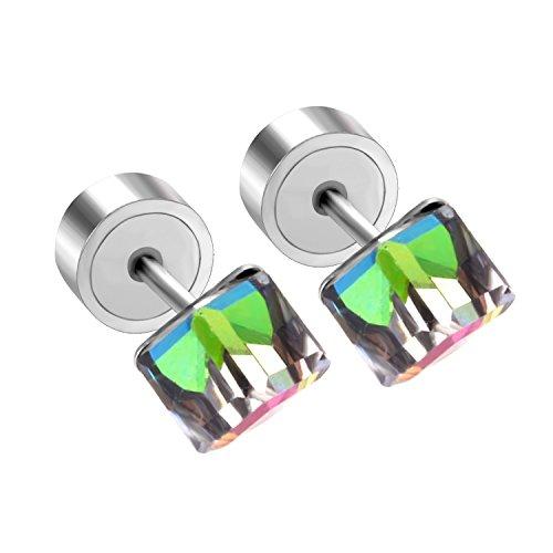 (LUXU kisskids Stainless Steel Colorful Cubic Zirconia Earrings Stud for Children Girls)