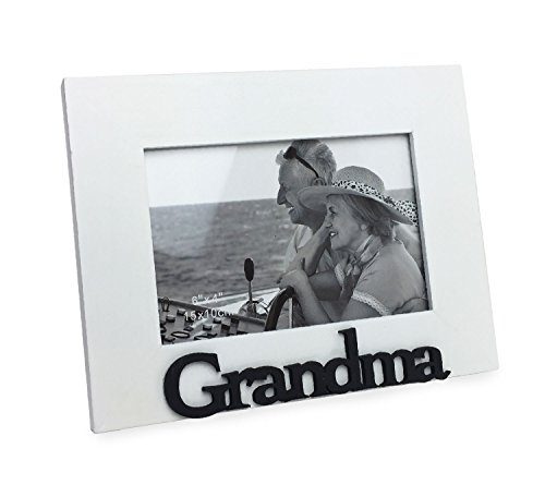 Isaac Jacobs White Wood Sentiments Grandma Picture Frame, 4x6 inch, Photo Gift for Grandmother, Nana, Family, Display on Tabletop, Desk (White)