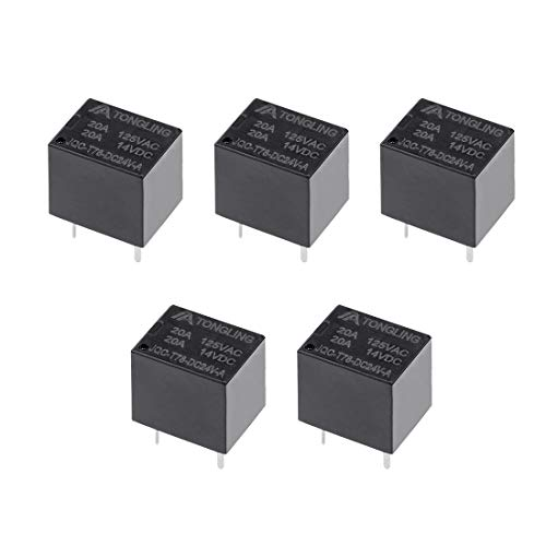 uxcell 5 Pcs JQC-T78-DC24V-A DC 24V Coil SPST 4 Pin PCB Electromagnetic Power Relay