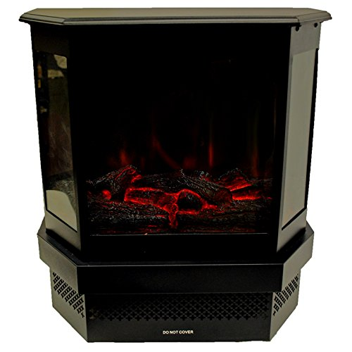 Portable 120v Electric Fireplace Stove 750 1500w Heater W Real Log Flame Effect