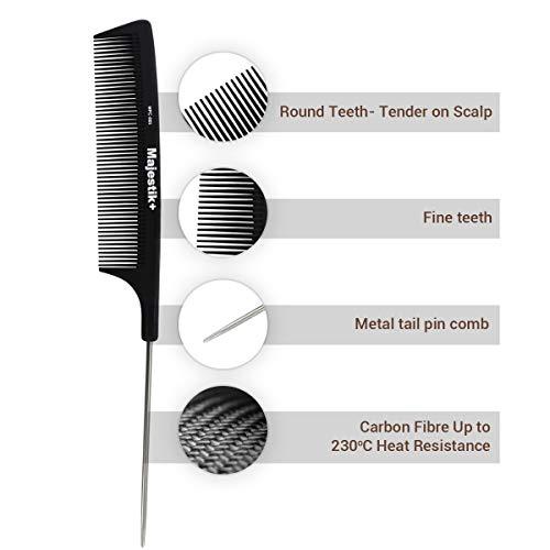 Hair Comb- a Professional Carbon Fibre Metal-Pin Tail Comb by Majestik+,...