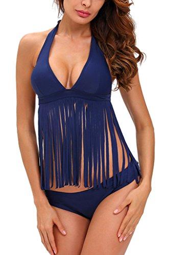 Chase Secret Womens Tassel Padded Fringe Bikini 2pcs Set Swimwear Beachwear Large (Ladies Fringe)