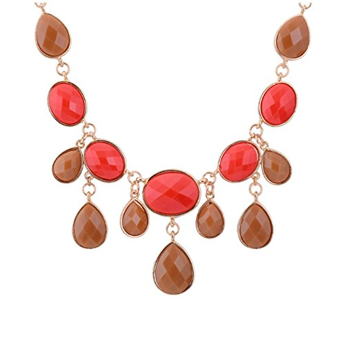 Real Spark Women Fashion Oval Beads Teardrop Resin Bubble Bib Princess Chunky Necklace Red & Brown