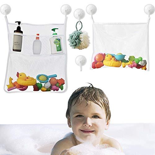 Bath Toy Organizer Mesh Storage Organizer Baby Shower Toys Bathtub Net Bag Kids Quick Dry Bathtub Mesh Net Bathtub Toy Holder 2 X Bathroom Storage Bag & 6 X Strong Suction Hooks ( White ) Shower Caddy