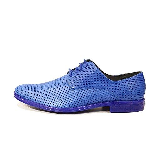 Modello Abele - Handmade Italiano Da Uomo In Pelle Blu Scarpe da sera - Vacchetta Pelle in rilievo - Allacciare
