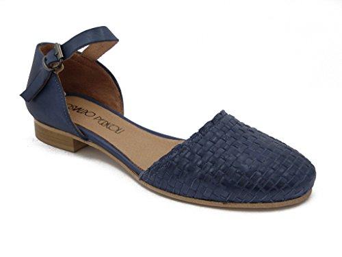 OSVALDO PERICOLI Oswald (Vorname) Gefahren, Schuh Leder geflochten blau, Absatz 1,5cm, M244 Blau