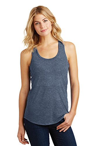 District Made Women's Perfect Tri Racerback Tank DM138L Navy Frost Medium