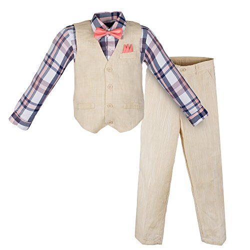 Vittorino Boy's Linen Look 4 Piece Suit Set With Vest Pants Shirt and Tie, Sand and Coral, 8