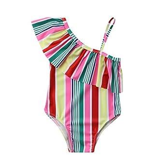 Mitlfuny Bañadores de una Pieza Mameluco Ropa bebé Traje de Baño Niña Playa Piscina Sin Tirantes Bikini Mono Rayado de Color Volantes Tops Natación Bañador ...