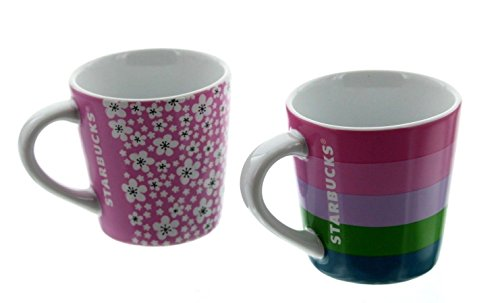 Floral Espresso Cup (Starbucks 2016 Demi Espresso 3 oz. Cups, Pink Floral Striped, 2 Pack Gift Set)