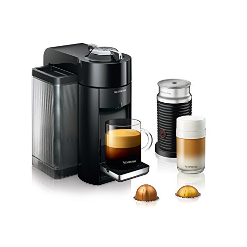 Nespresso ENV135BAE Coffee and Espresso Machine Bundle with Aeroccino Milk Frother by De'Longhi, Black