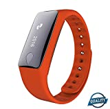 Smart Bracelet Bluetooth APP Heart Rate Meter Smart Watch Touch Screen for iPhone & Android phones(ORANGE)