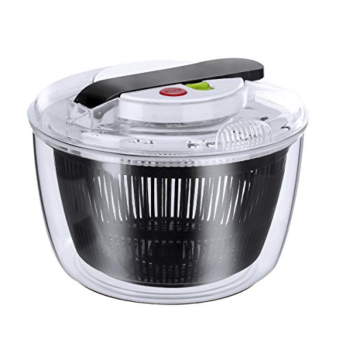 Salad Spinner - Large 5L Lettuce/Vegetable Washer Strainer and Dryer, Anti-Wobble Tech, Lockable Colander Basket and Smart Lock Lid - BPA Free, Simple Easy and Safe to Use