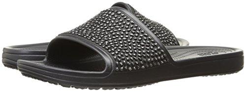 Crocs Damen Badeschuhe Sloane Embellished Slide Black/Black