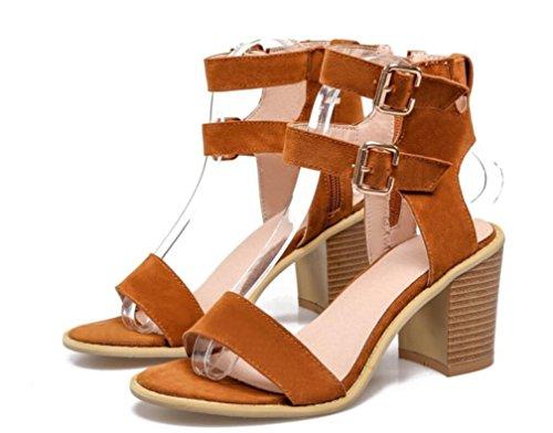 SHFANG Sandalias de las señoras Verano de tacón alto Velcro botas fresco 34-43 Cómodo partido de compras tres colores de 8 cm Yellow