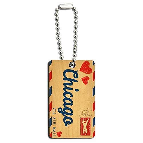 Graphics and More Air Mail Postcard Love for Chicago Wood Wooden Rectangle Key Chain -