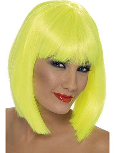 Smiffys Women's Short Blunt Cut Neon Green Wig with Bangs, One Size, Glam Wig, 5020570421383 -