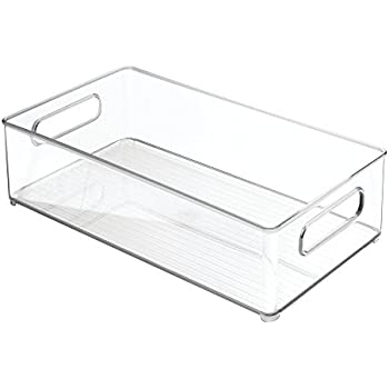 "InterDesign Refrigerator and Freezer Storage Organizer Bins for Kitchen, 8"" x 4"" x 14.5"", Clear"