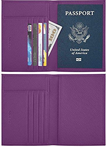 SimpacX Genuine Leather Passport Cover Holder RFID Blocking for Men & Women Travel Wallet (synethic Leather Purple)
