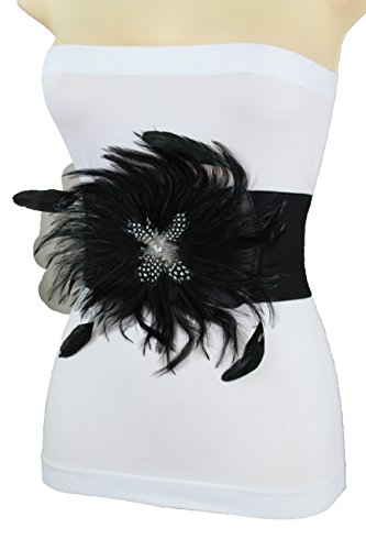 (TFJ Women Fashion Elastic Wide Belt Waist Hip Long Black Genuine Feathers Size S)