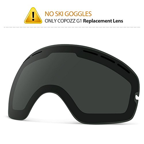 COPOZZ G1 Ski Goggles Replacement Lenses, Extra Snow Snowboard Goggles Lenses, Imported Double-Layer Anti Fog UV Protection Lenses Only