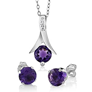 "2.25 Ct Round Purple Amethyst .925 Silver Pendant and Earrings Set 18"" Chain"