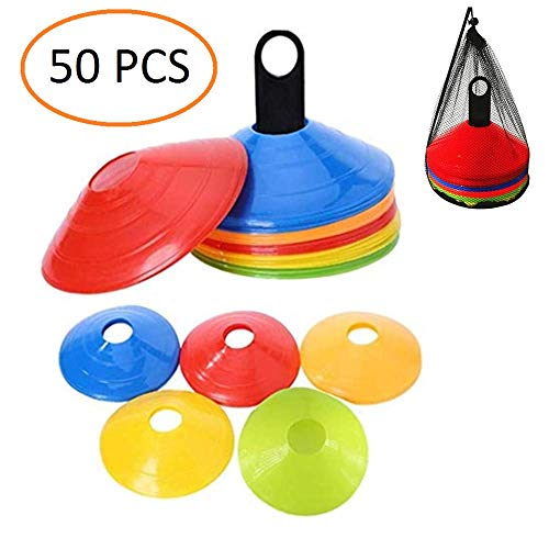 ANSLYQA Disc Cones (Set of 50) Agility Training Soccer Cones with Carry Bag and Holder for Football Basketball Sports Field Cone ()