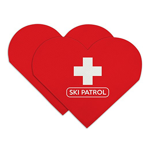 Ski Patrol with Cross Heart Faux Leather Bookmark - Set of 2