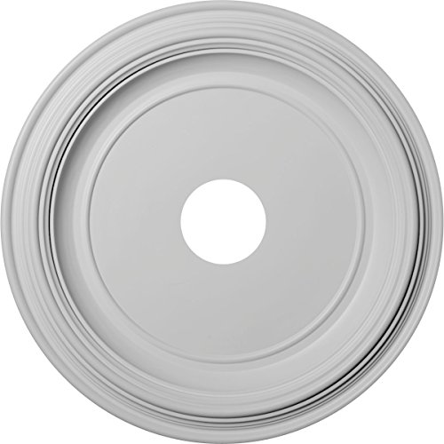 Ekena Millwork CMP19TR Traditional Thermoformed PVC Ceiling Medallion, 19''OD x 3 1/2''ID x 1 1/2''P (Fits Canopies up to 11 1/2''), White by Ekena Millwork