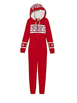 Victoria Secret. Pink Cozy Holiday Sleep Pajama Long Jane One Piece Red Fairisle Print Large NWT
