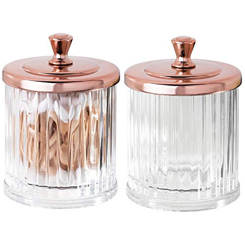 mDesign Fluted Bathroom Vanity Storage Organizer Canister Apothecary Jar for Cotton Swabs, Rounds, Balls, Makeup Sponges, Bath Salts - 2 Pack - Clear/Rose Gold
