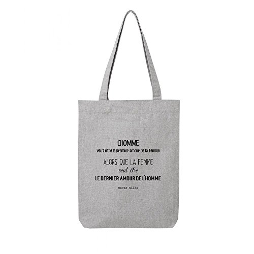 bag Tote toile osacr wilde citation recycle gris en Unn4d6xwP