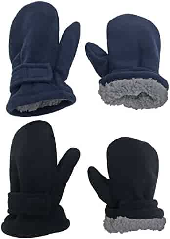 N'Ice Caps Little Kids and Baby Easy-On Sherpa Lined Fleece Mittens - 2 Pair Pack