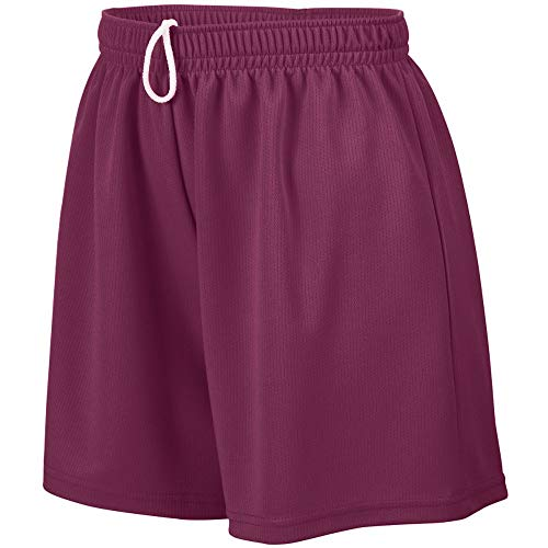 Augusta Sportswear Augusta Girls Wicking Mesh Short, Maroon, Medium