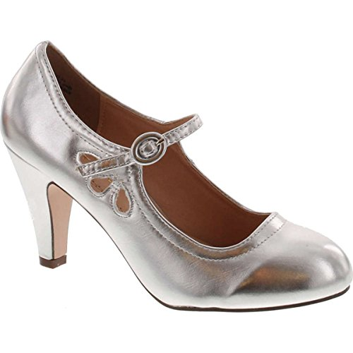 Chase & Chloe Kimmy-21 Womens Round Toe Mid Heel Mary Jane Pumps-Shoes Pumps,Light Silver,7.5 - Chloe Womens Apparel