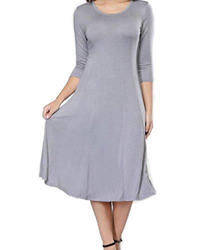 Confortables Femmes Taille Plus Mince Couleur Pure 3/4 Manchon Évasé Gris Robe De Ligne