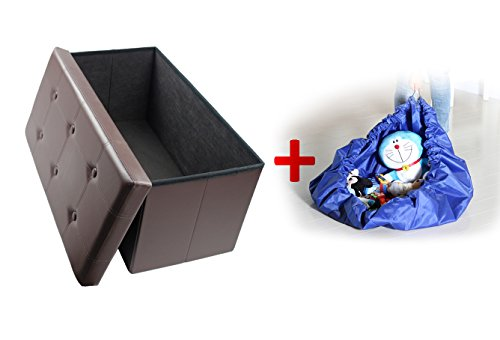 Finnhomy Folding Storage Ottoman Bench, Toy and Shoe Chest Faux Leather Seat & Foot Rest, 30'' Folding Storage Bin with Turfed Top & Free Toy Play Mat, Brown