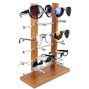 LFHT Wood Sunglasses Display Stand Tabletop Eyewear Storage Rack Glass Showcase (12 Pair)