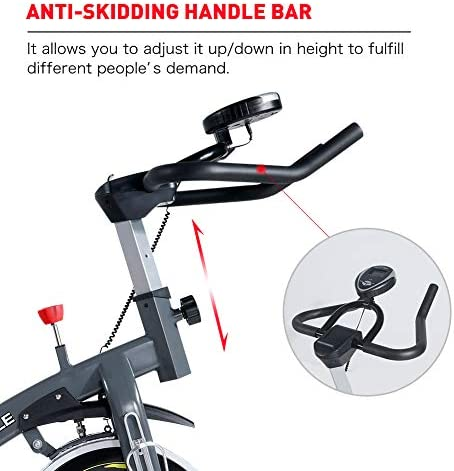 PASYOU Magnetic Exercise Bike Indoor Stationary Cycling Bike Belt Drive Bicycle with LCD Monitor for Home Cardio Workout Bike Training