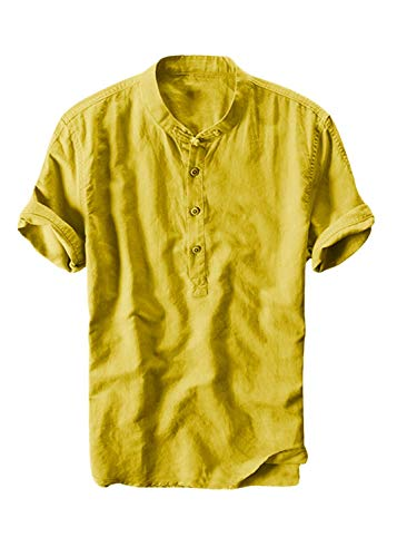 (FONMA Summer Men's T-Shirt Thin Breathable Collar Hanging Dyed Gradient Cotton Tops Yellow)