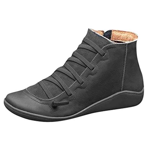 Womens Leather Oxfords Lace-up Ankle Boots Soft Rubber Sole Slip on Flat Loafer Walking Shoes with Zipper