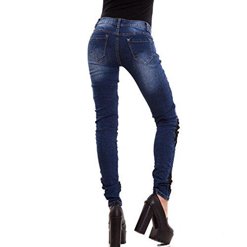 Aderenti Donna Elasticizzati Sigaretta W0769 Pantaloni Blu Nuovi Skinny Toocool Pizzo Jeans 05qcWS