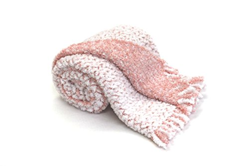 BizzyBabies Chenille Baby Blankets (Pink/Cloud White)